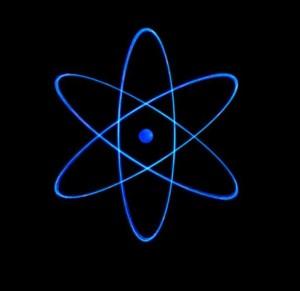 A classic representation of the Bohr atom.