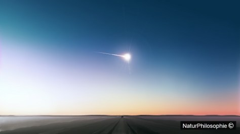 A CCTV photograph showing the Chelyabinsk meteor burning bright in the atmosphere over Russia. Image: NaturPhilosophie