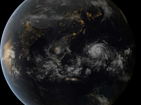 A photograph of typhoon Haiyan over the Philippines, taken from the International Space Station (ISS). Image: NASA