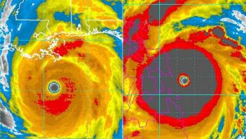 A side-by-side comparison of hurricane Katrina and typhoon Haiyan.