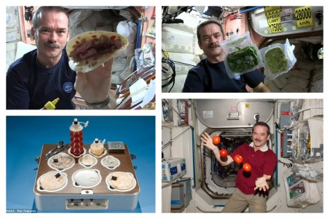 A photographic collage showing Chris Hadfield playing with his food aboard the International Space Station (ISS). Cooking with NASA!