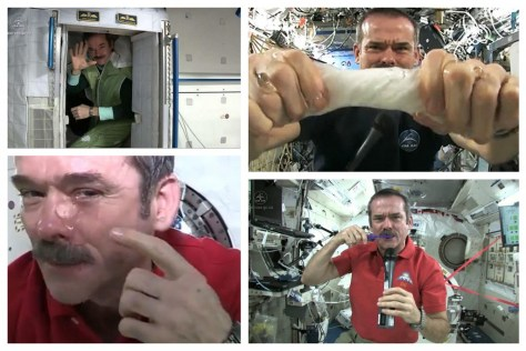A photographic collage showing Chris Hadfield crying in space... and generally playing with water, as well as demonstrating the sleeping arrangements on board the International Space Station (ISS).