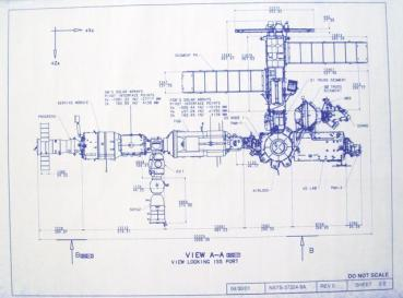 A picture showing a blueprint of the International Space Station (ISS) Port View.