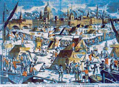An old illustration showing the Frost Fair that took place on the Thames during the so-called 'Little Ice Age' in London, during one of the Sun's Maunder minimum.