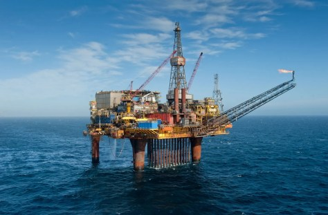 A photograph of the Dunlin oil rig platform located above the Osprey Field in the North Sea off Scotland.