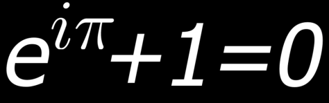 A picture showing the equation for Euler's Identity: e^{i Pi} + 1 = 0.