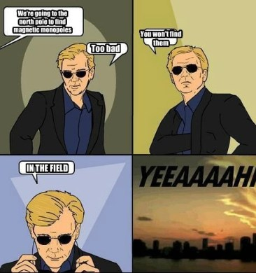 """A cartoon depicting the famous CSI Miami character, Horatio Caine. The captions read: """"We're going to the north pole to find magnetic monopoles."""" Horatio replies: """"Too bad. You won't find them... in the field."""""""