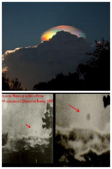 "A photographic collage showing an earthquake rainbow cloud and two historical photographs taken during the ""Miracle at Fatima""."
