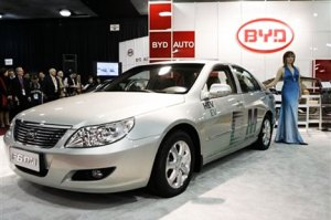 A photograph showing one of BYD China electric car models.
