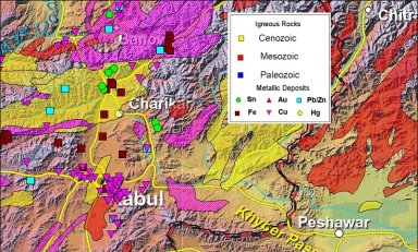 A map showing copper and iron deposits near Kabul, Afghanistan.