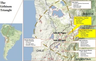 Two maps showing the location of the Lithium Triangle in South America.