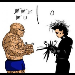 A cartoon showing the Thing and Edward Scissorhands playing games of Rock, Paper, Scissors. Poor Edward is losing to the Thing.