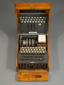 A photograph showing an original German Enigma machine.