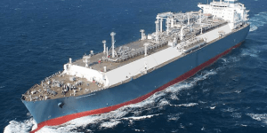 A photograph showing Independence - the World's first LNG Vessel constructed by Hyundai.