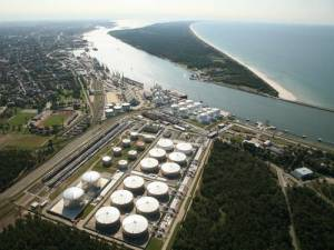 An aerial photograph showing LNG Terminal at Klaipeda on the Baltic coast of Lithuania.