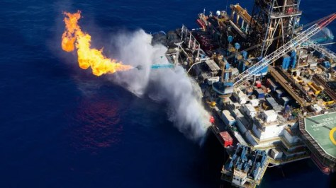 An aerial photograph of an oil rig at Sedco gas field, Leviathan.