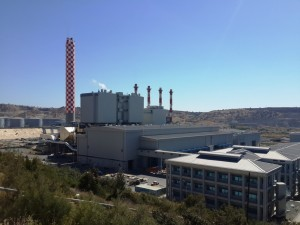 A photograph showing the Vasilikos power station, in Cyprus.