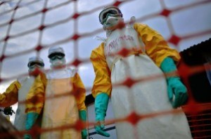A photograph showing the quarantine precautions undertaken due to the Ebola outbreak.