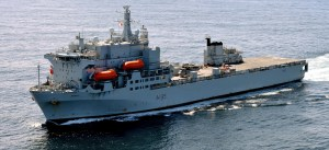 A photograph showing the RFA Argus Hospital Ship.