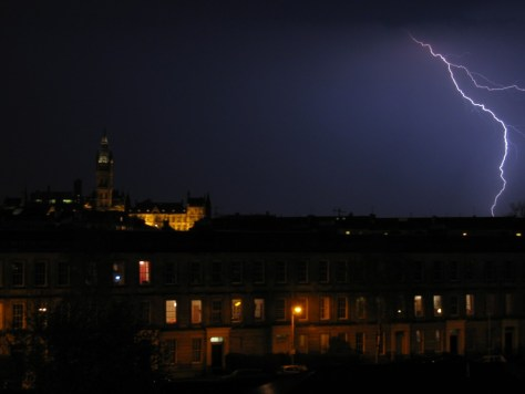 A photograph showing lightning over Glasgow's West End.