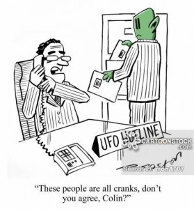 """A humoristic cartoon about the UFO hotline. The caption reads: """"These people are all cranks, don't you agree, Colin?"""""""