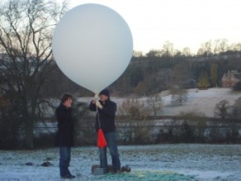 A photograph of Alex Baker and Chris Rose from SentIntoSpace, preparing to launch one of their payloads.
