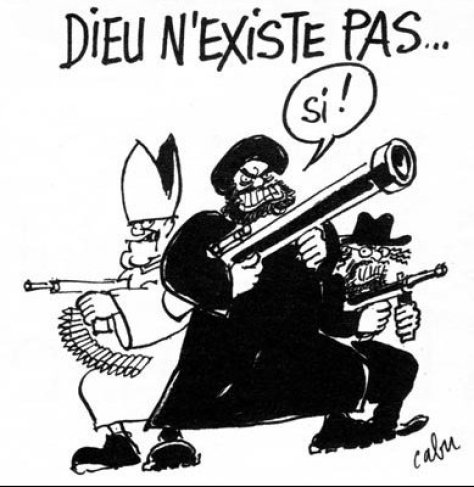"A Charlie Hebdo cartoon by Cabu, showing three violent extremist of different religious backgrounds. The caption reads: ""Dieu N'Existe Pas..."" (God Doesn't Exist.) ""Si!"" (Yes!) is the answer of the terrorist."