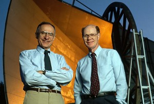 A photograph of Arno Penzias and Robert Wilson in front of the horn antenna at Bell laboratories in 1993.