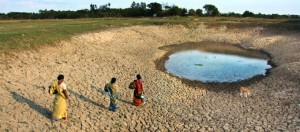 A photograph showing an almost completely dry lake in India, where women go and fetch drinking water.