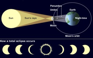 A diagram explaining how solar eclipses develop step-by-step.