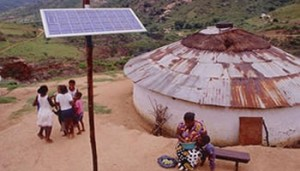 A photograph showing how solar panels can be installed to provide light to even remote villages in West Africa.