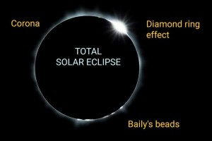 A labelled photograph showing a total solar eclipse, with its accompanying features: the diamond ring, the corona and Baily's beads.