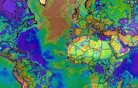 A satellite colour map taken from the IRENA Global Atlas for Renewable Energy - Free Air Anomaly Map.