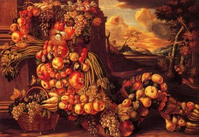 """A painting by Giuseppe Arcimboldo - """"Summer"""" representing a man entirely made of seasonal fruit and vegetables."""