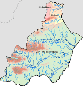 A hydrological map of the lower Andarax basin in the region of Almería in Spain.