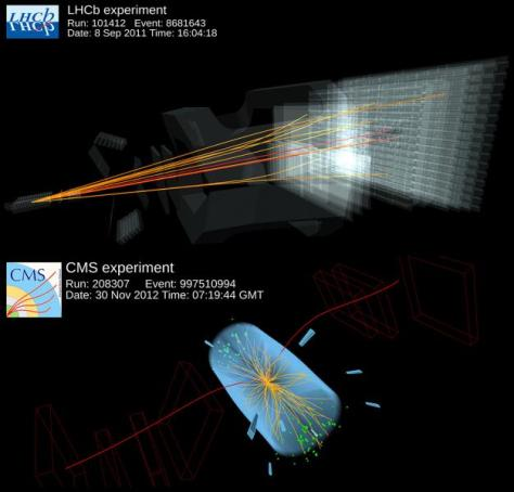 Two computer models showing the Beauty (B0s) particle decaying into two muons, as detected by CERN's LHCb and CMS experiments.