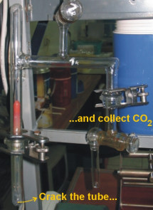 The tube containing CO2 from the sample is placed into a vacuum overnight, and cracked open. The released gas is then collected and measured. The photograph shows the apparatus that is used for the experimental procedure.