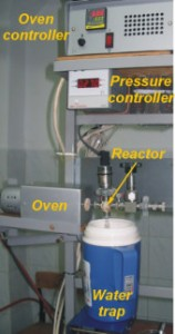 The CO2 is reduced to graphite. The photograph shows the apparatus that is used for the graphitisation process.