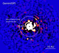 The discovery image of exoplanet 51 Eridani b.