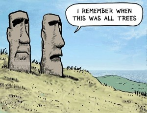"A humoristic cartoon of Easter Island Maui Sculptures. Two Easter Island Maui head sculptures reminisce: ""I remember when this was all trees""."