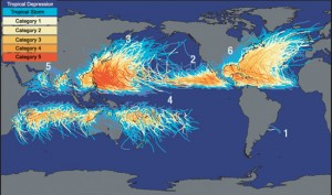 A map of tropical depressions and storms around the World, from Category 1 to Category 5.