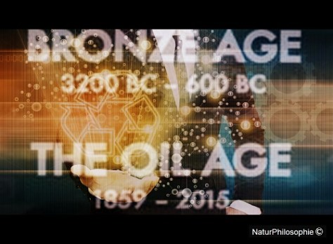 "A mock cinemascope picture featuring a well-dressed male in control of green business practices in the background. The prominent white text on the foreground says: ""Bronze Age: 3200 BC - 600 BC"" and ""The Oil Age: 1859 - 2015"". Image: NaturPhilosophie"