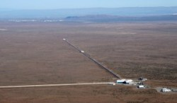 An aerial view showing the surface structure of LIGO Hanford Gravity Observatory.