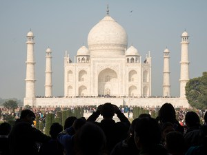 A photograph of the Taj Mahal in Agra, India.
