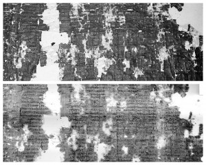 Two photographs of some very damaged fragments of papyrus.