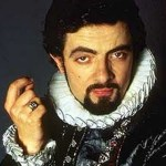 A photograph showing Rowan Atkinson incarnating Machiavellian character Blackadder in the BBC series.