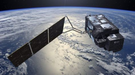 An artist's rendition of the Sentinel 3-A satellite orbiting over the Earth atmosphere. Image: ESA