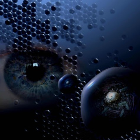 Artwork illustration for 'Optically Brilliant Metamaterials', depicting a human eye looking at the nanoscopic world with the help of metamaterial molecules. Source: Canada Stock Journal