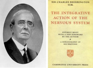 A book frontispiece showing a black and white photographic portrait of Sir Charles Scott Sherrington and the title page of his book 'The Integrative Action of Nervous System Cover'.