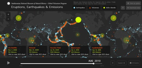 A screenshot of the Global Volcanism Program's Map of Eruptions, Earthquakes and Emissions $ ($E3$ )$ from The Smithsonian National Museum of Natural History, taken at time t = August 2010, showing details of the Icelandic volcano eruption of Eyjafjallajokull on 14th April 2010.